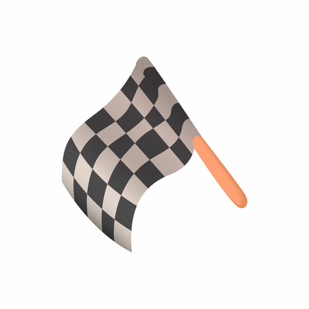 Racing flag icon in cartoon style isolated on white background. Start race symbol