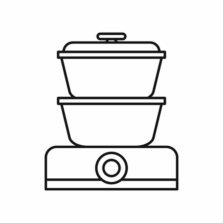 double boiler: Double boiler icon in outline style isolated on white background
