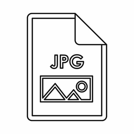 JPG file extension icon icon in outline style isolated on white background Illustration