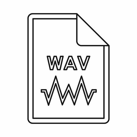 wav: WAV audio file extension icon in outline style isolated on white background Illustration