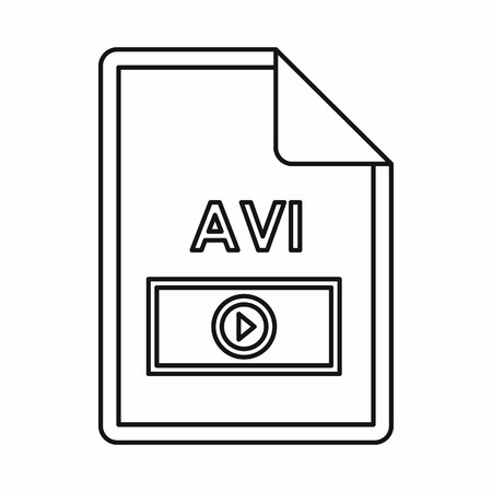 file extension: AVI video file extension icon in outline style isolated on white background Illustration