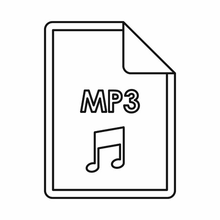 file extension: MP3 audio file extension icon in outline style isolated on white background Illustration