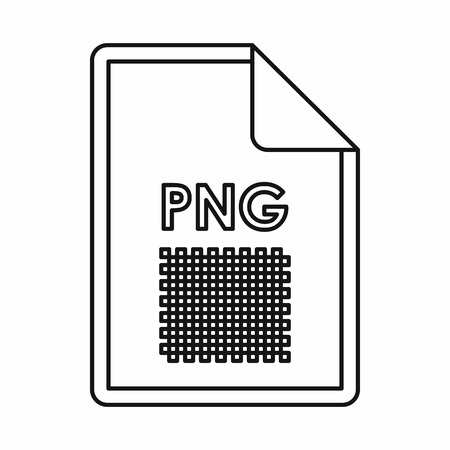 png: PNG image file extension icon in outline style isolated on white background Illustration