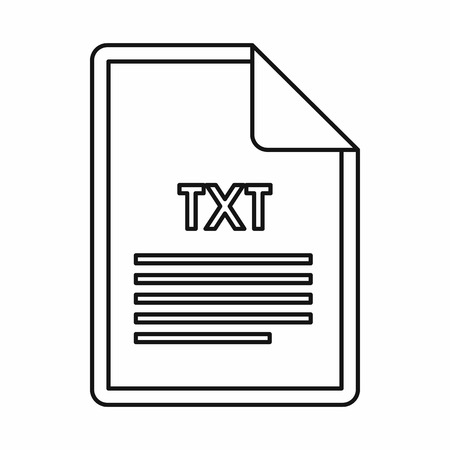 txt: TXT file format icon in outline style isolated on white background