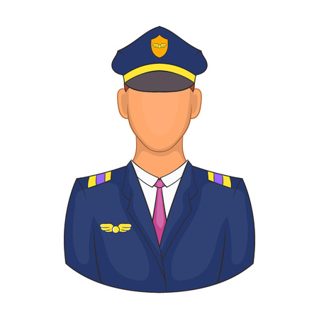 aircrew: Pilot icon in cartoon style on a white background Illustration