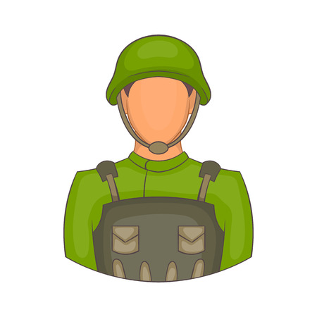 infantryman: Soldier icon in cartoon style on a white background