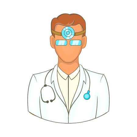 otolaryngologist: Doctor with stethoscope and reflector frontal of otolaryngologist icon in cartoon style on a white background Illustration
