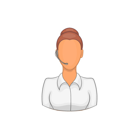 Support phone operator in headset icon in cartoon style on a white background