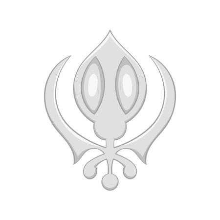 deg: Sikhism symbol icon in cartoon style on a white background Illustration