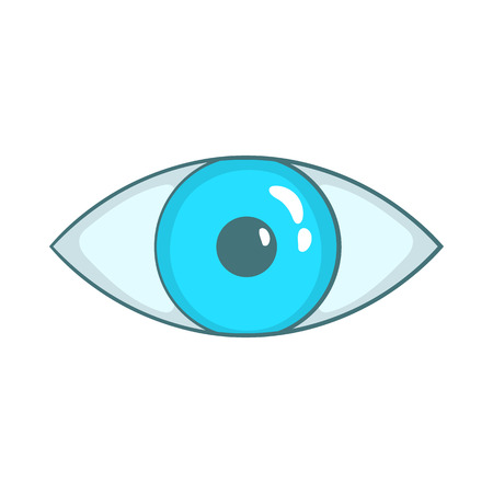 Blue eye icon in cartoon style on a white background Illustration