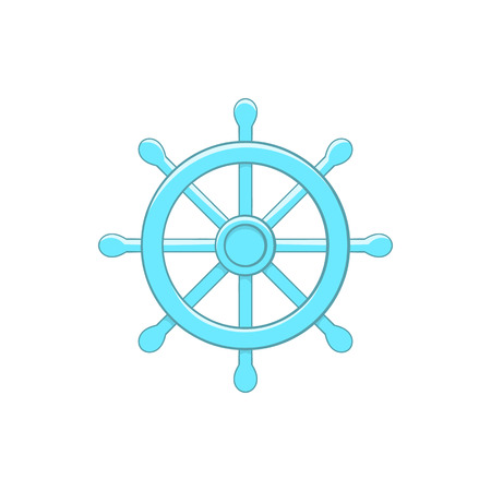 wheel of dharma: Wheel of Dharma icon in cartoon style on a white background
