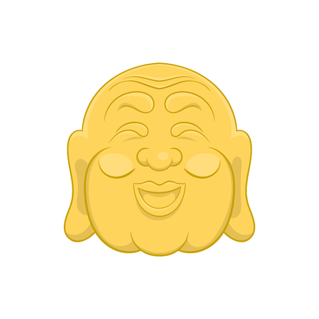budda: Budha head icon in cartoon style on a white background