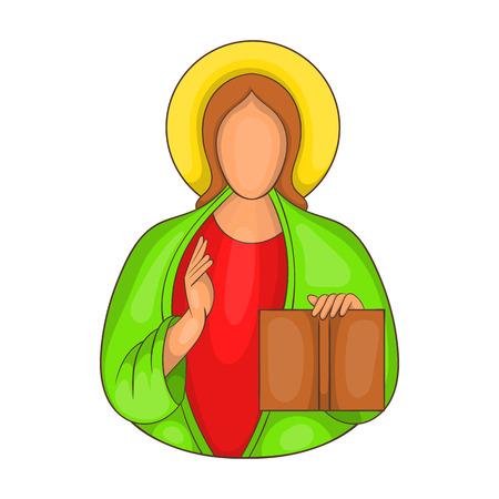 漫画のスタイルの白い背景の上にイエス ・ キリストのアイコン  イラスト・ベクター素材