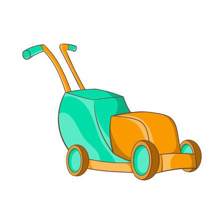 mowing the grass: Lawnmower icon in cartoon style on a white background