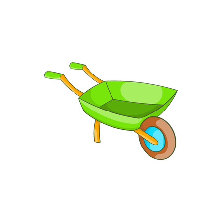 Green wheelbarrow icon in cartoon style on a white background