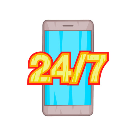 24 7 phone support icon in cartoon style on a white background