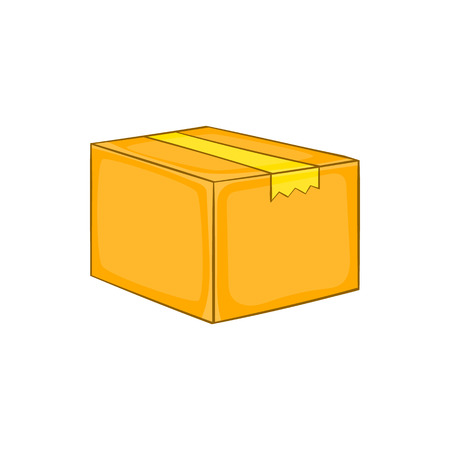 boxed: Cardboard box icon in cartoon style on a white background Illustration