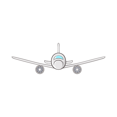 Cargo plane icon in cartoon style on a white background