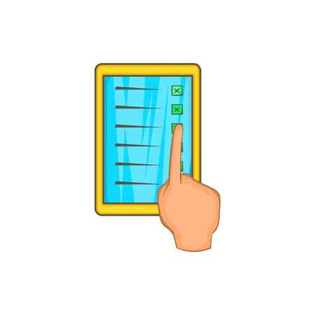 checklist: Checklist with hand icon in cartoon style on a white background Illustration