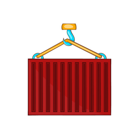 bulk carrier: Crane lifts red container icon in cartoon style on a white background