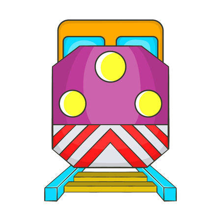 Train locomotive transportation railway icon in cartoon style on a white background Illustration