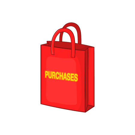 purchase icon: Red bag for shopping , with the inscription purchase icon in cartoon style on a white background