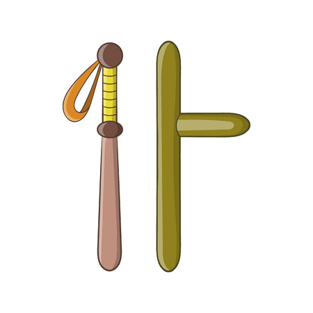 Rubber batons icon in cartoon style on a white background Illustration