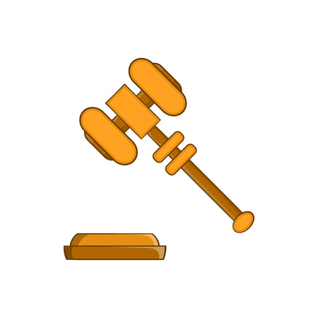 counsel: Judge gavel icon in cartoon style on a white background Illustration