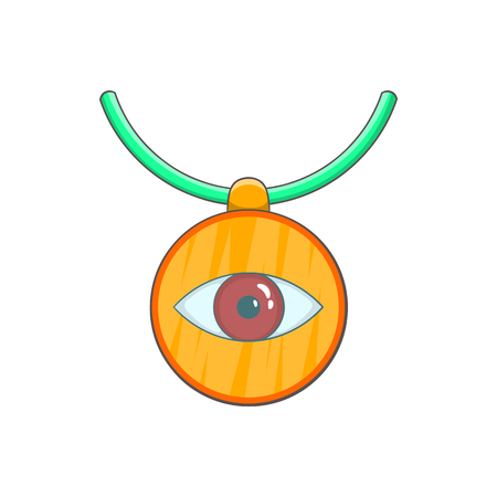 Amulet against the evil eye icon in cartoon style on a white background