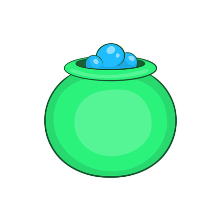 Green witch cauldron with potion icon in cartoon style on a white background Illustration