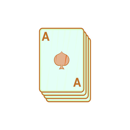 ace of spades: Ace of spades, playing cards icon in cartoon style on a white background
