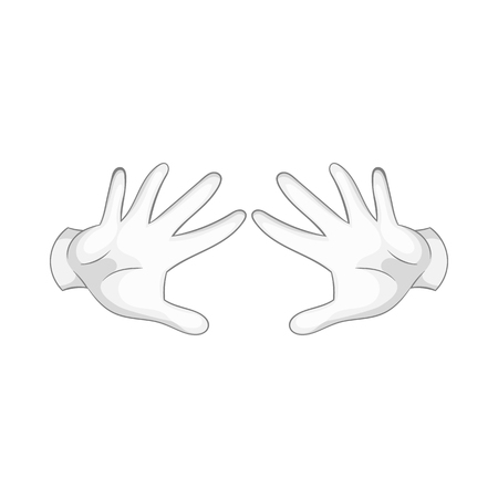 magus: Magician hands in white gloves icon in cartoon style on a white background Illustration
