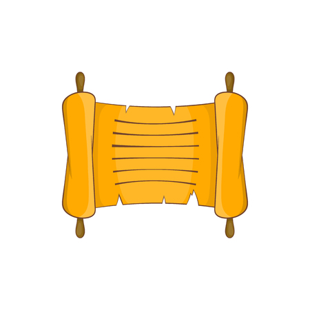 Ancient scroll icon in cartoon style on a white background