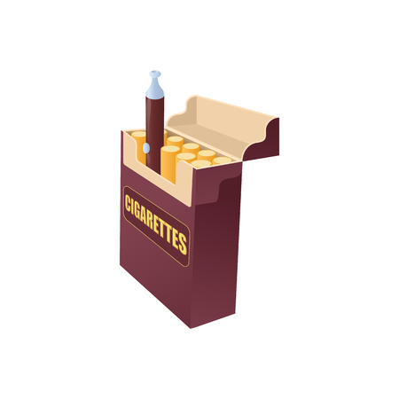 e cig: Electronic cigarette in a pack of cigarettes icon in cartoon style on a white background Illustration