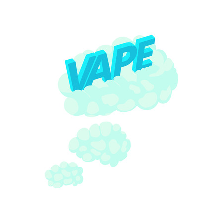 e cig: Vape clouds icon in cartoon style on a white background