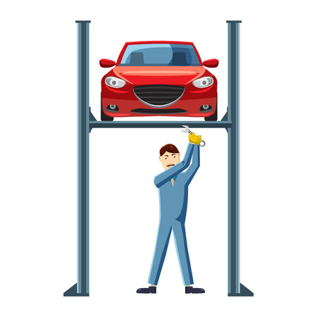 Mechanic repairing a car on a lift icon in cartoon style on a white background Ilustração