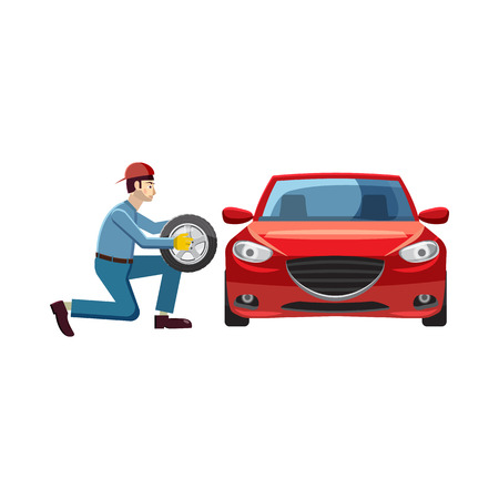 changing: Mechanic changing wheel on red car icon in cartoon style on a white background