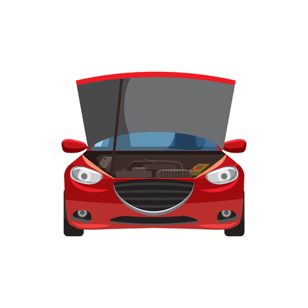motorist: Red car with an open hood icon in cartoon style on a white background
