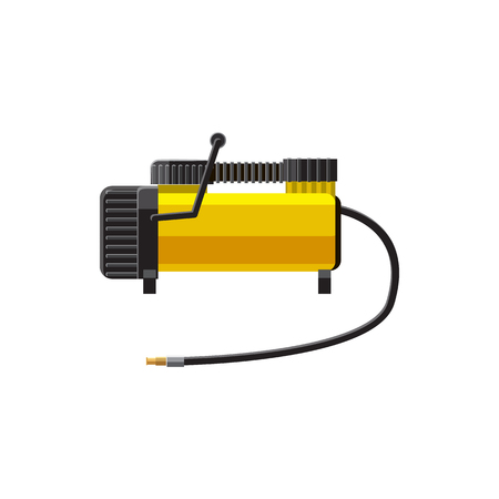 pneumatic tyres: Car air compressor icon in cartoon style on a white background Illustration