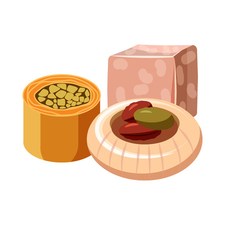 delight: Turkish delight icon in cartoon style on a white background Illustration