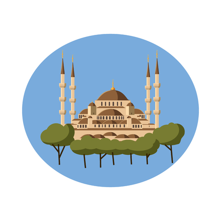 sultan: Mosque icon in cartoon style on a white background Illustration