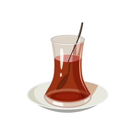 漫画のスタイルの白い背景の上にトルコのお茶アイコン