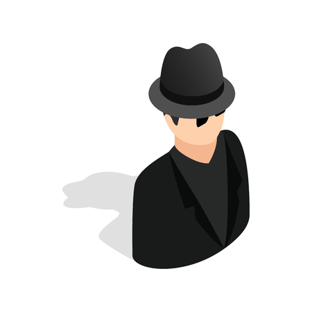 sneak: Man in black sunglasses and black hat icon in isometric 3d style on a white background Illustration