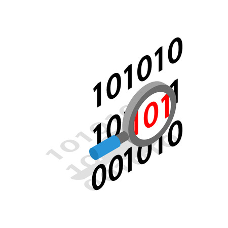 cryptogram: Binary code and magnifying glass icon in isometric 3d style on a white background