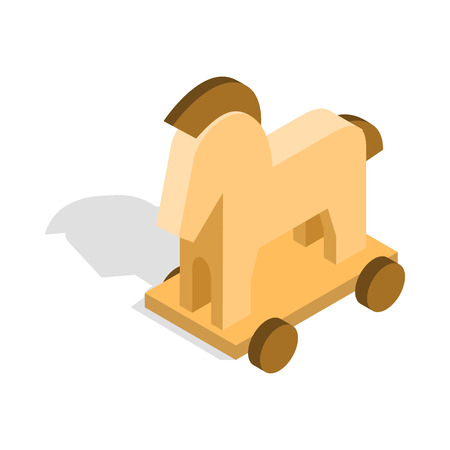 removing the risk: Horse trojan icon in isometric 3d style on a white background
