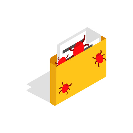Infected email icon in isometric 3d style on a white background Illustration