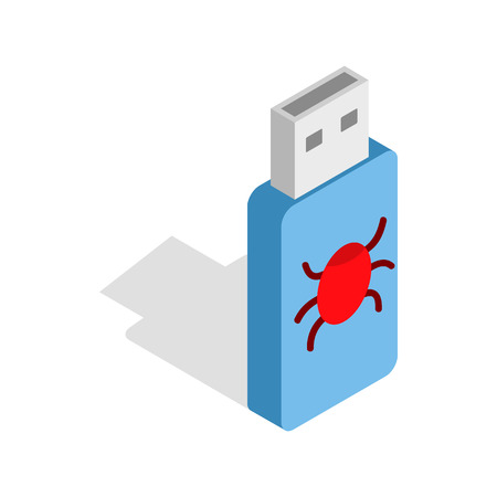 infected: Infected USB flash drive icon in isometric 3d style on a white background