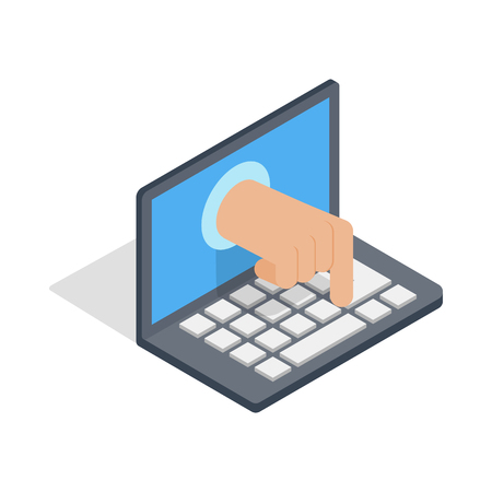 stealing data: Stealing data through a laptop icon in isometric 3d style on a white background Illustration