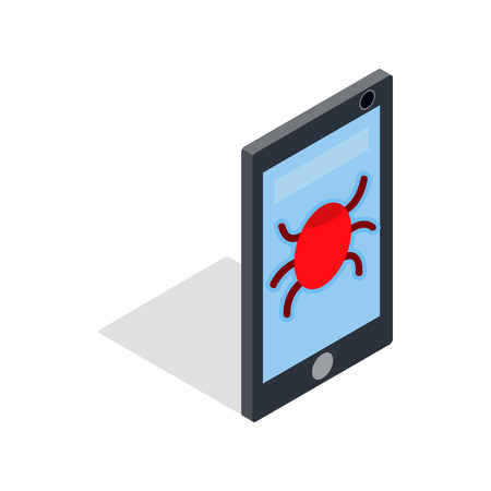 infected: Infected smartphone icon in isometric 3d style on a white background Illustration