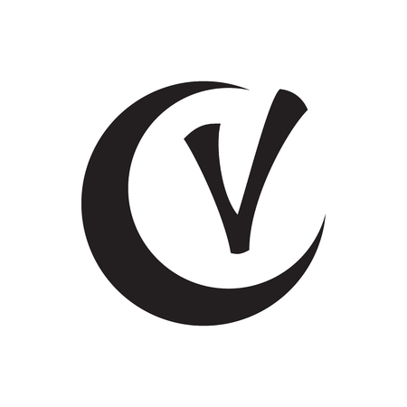 complete solution: Checkmark and crescent icon in simple style isolated on white background. Click and choice symbol Illustration